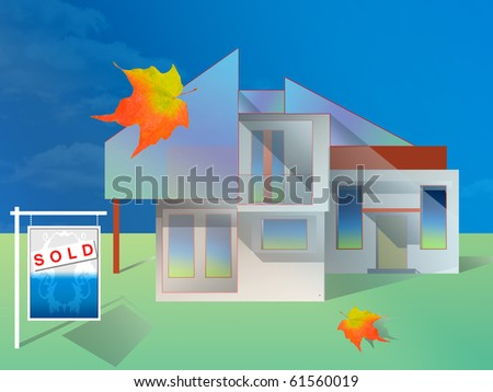 Contemporary house is SOLD. Illustration. real estate.