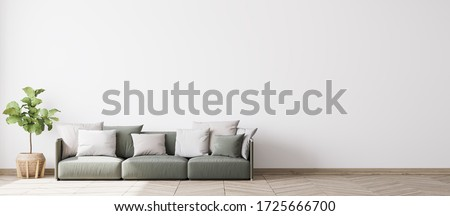 contemporary interior design for 3 poster frames in living room mock up with green couch, wooden pot and floor lamp, template, 3d render, illustration