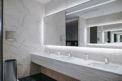 Contemporary interior of public toilet.
