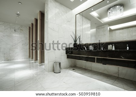 Contemporary Interior Of Public Toilet Part The Luxury Hotel 503959810