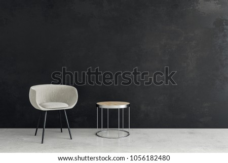 Contemporary interior with chair, small coffee table and copy space on concrete wall. Presentation and design concept. Mock up, 3D Rendering  #1056182480