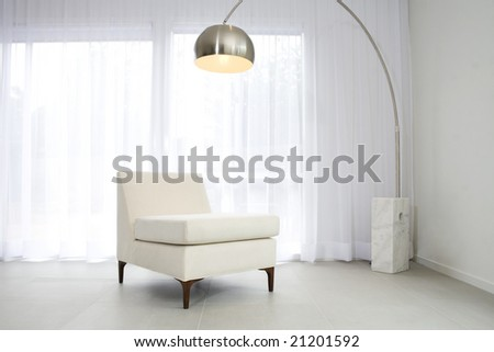 Contemporary interior with lamp
