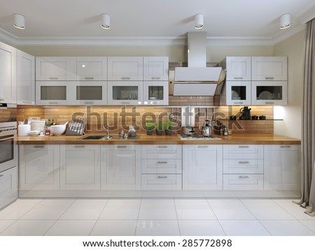 Contemporary Kitchen Design. 3d render