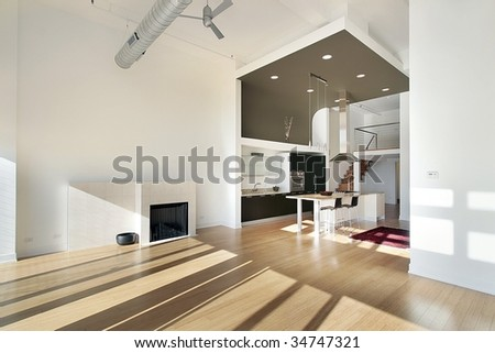 Contemporary kitchen from family room