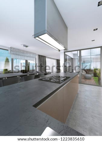Contemporary kitchen with large windows and island with bar stools. 3D rendering. #1223835610