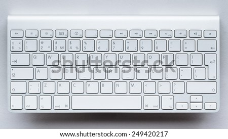 Contemporary light keyboard of computer