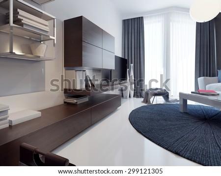 Contemporary living room design. Matte TV cabinet furniture brown. White poured concrete floors and polished. Round dark blue carpet. 3D render