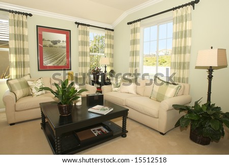Contemporary Living Room In Earth Tones Stock Photo 15512518 ...