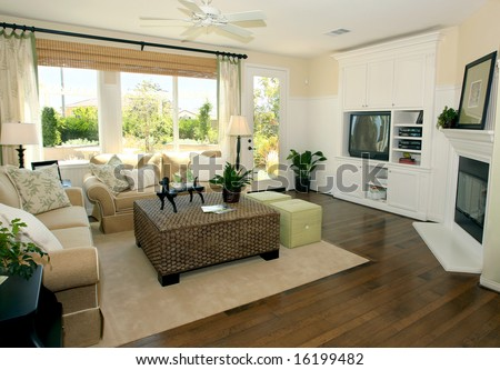 Contemporary Living Room In Earth Tones Stock Photo 16199482 ...