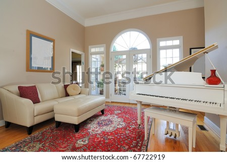 Living Room Couches on Contemporary Living Room Interior With Sofa  Couch  Piano  And Window
