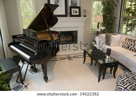 Contemporary living room with a fireplace and grand piano for Grand piano in living room layout