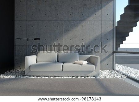 contemporary living room with concrete wall and pebble onthe floor