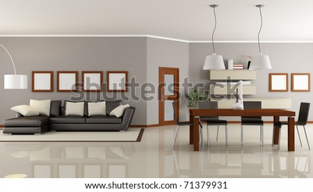 contemporary living room with dining space - rendering