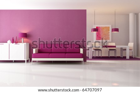contemporary living room with dining space - rendering - the art work on wall is a my composition