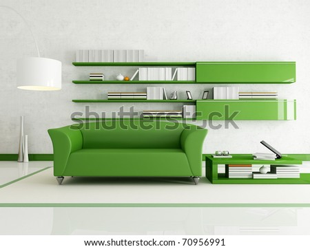 contemporary  living room with fashion green couch - rendering