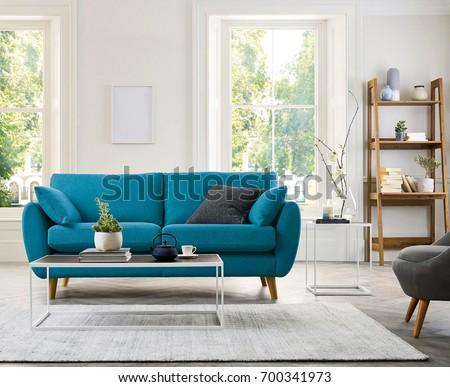 Contemporary living room with sofa #700341973