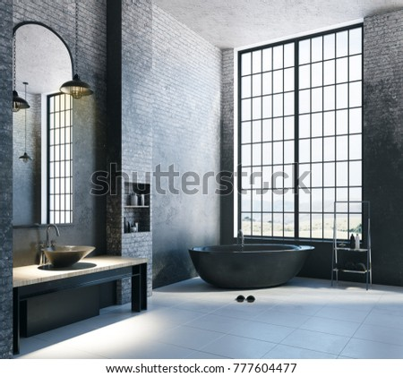 Contemporary loft bathroom interior with appliances, city view and empty copyspace on concrete wall. Mock up, 3D Rendering