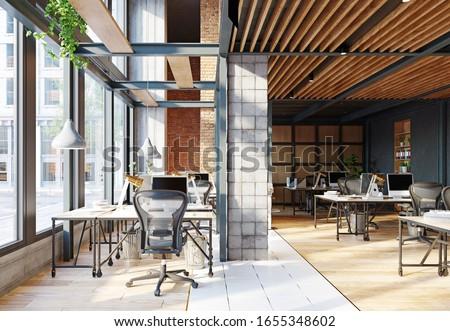 contemporary loft office interior. 3d rendering design concept Foto stock ©