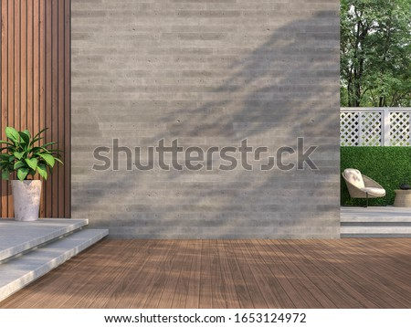 Contemporary loft style balcony 3D render,There are wooden floors, empty concrete walls decorating living area with rattan furniture with white fences.