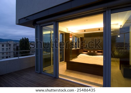 contemporary loft - terrace / bedroom by night