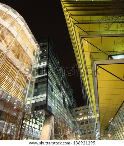 Contemporary London Architecture along the Thames River bank UK