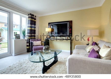 Contemporary lounge with stylish modern furniture dressed with brightly colored cushions