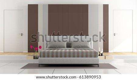Contemporary master bedroom with closet and two closed door - 3d rendering
