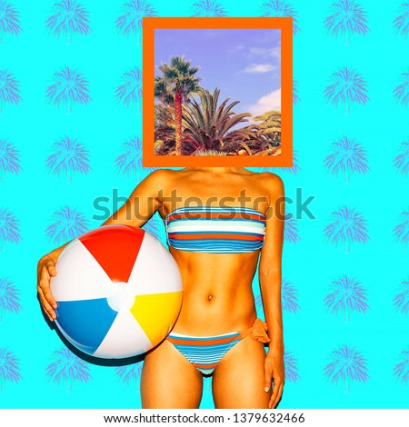 Contemporary minimal art collage. Girl in swimsuit. Vacation vibes. Zine culture concept