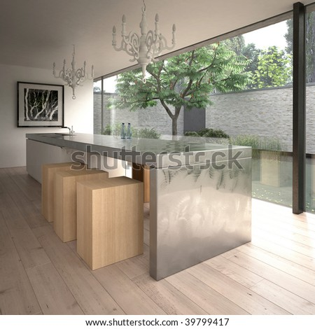Contemporary minimalist kitchen in modern house (3D render)