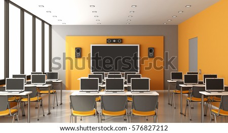 Contemporary multimedia classroom with digital blackboard,laptop and speaker - 3d rendering