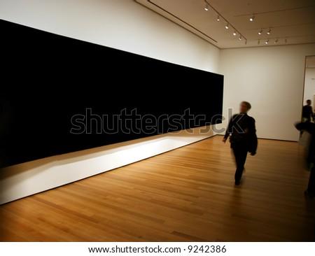 Contemporary museum gallery interior, big blank horizontal panel on exposition
