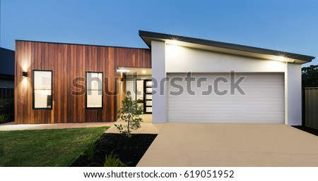 Contemporary new Australian home lighting at dusk #619051952
