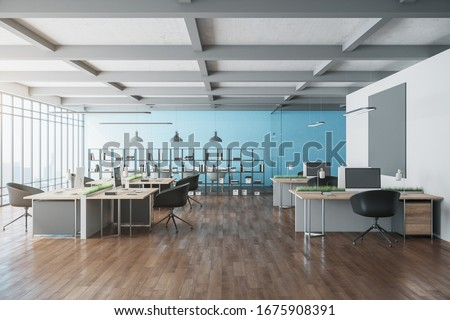 Contemporary office interior with computers, blank poster and city view. Workplace and lifestyle concept. 3D Rendering