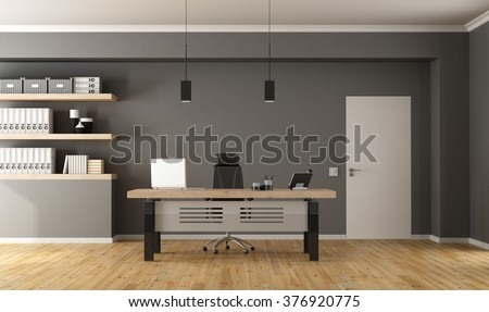 Contemporary office  with minimalist desk,closed door and shelves with binder - 3d Rendering