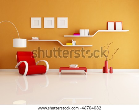 contemporary orange and red reading room - rendering - stock photo
