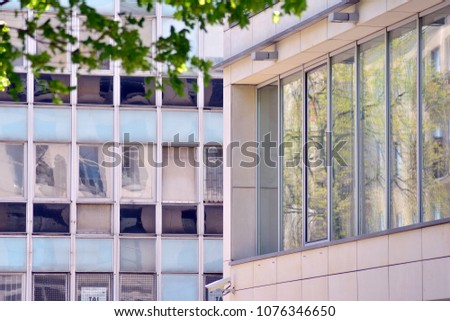 Contemporary residential building exterior in the daylight #1076346650
