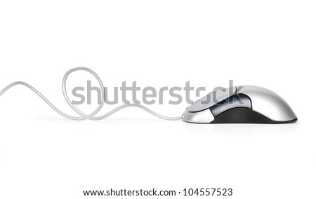 Contemporary  silver computer mouse isolated on white background