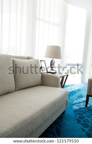 Contemporary sofa in a modern living room.