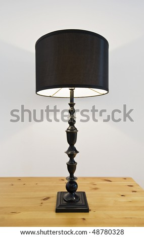 contemporary table top reading lamp with dark brown shade