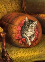 Content cat in fur muffler - a vintage (c.1890) illustration