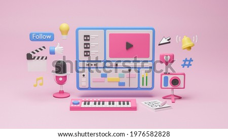 Content creator vlogger blogger influence creative media production videomaking sound live streaming camera microphone podcast social media networks studio likesubscribe follow 3d rendering. Foto stock ©