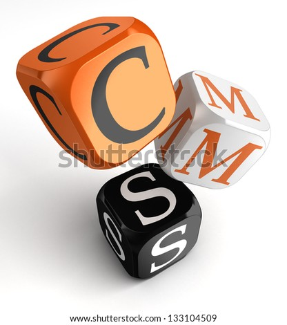 Content Management System orange black dice blocks on white background. clipping path included