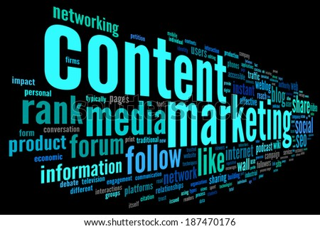 Content marketing concept in word tag cloud on black background