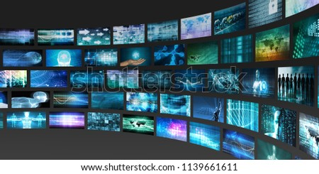Content Marketing on a Video Wall as Digital Concept 3D Render