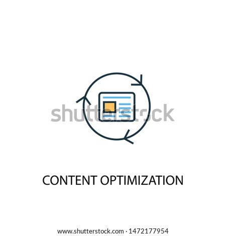 Content Optimization concept 2 colored line icon. Simple yellow and blue element illustration. Content Optimization concept outline symbol design