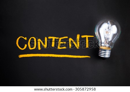 Content topic with glowing light bulb