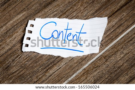 Content written on the paper on a wood background