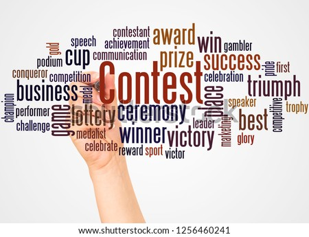 Contest word cloud and hand with marker concept on white background. #1256460241
