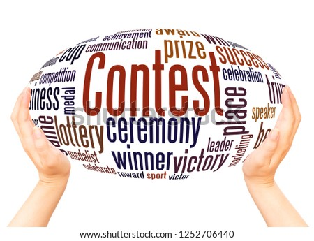 Contest word cloud hand sphere concept on white background. #1252706440