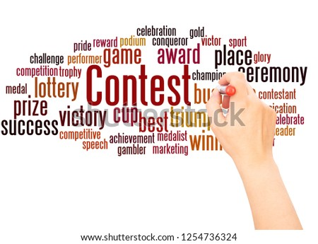 Contest word cloud hand writing concept on white background. #1254736324